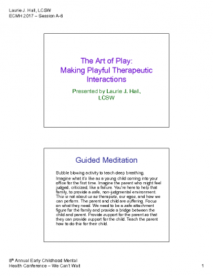 C-6_ Laurie Hall_The Art of Play PPT Handout